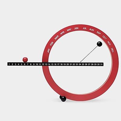 MoMA Decorative Perpetual Tabletop Calendar; Red / Black