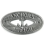 Handcrafted Nautical Decor Anchors Aweigh Sign Wall D cor; Antique Silver