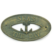 Handcrafted Nautical Decor Seas the Day Sign Wall D cor; Antique Bronze