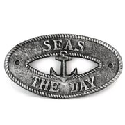 Handcrafted Nautical Decor Seas the Day Sign Wall D cor; Antique Silver