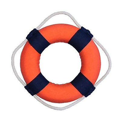 Handcrafted Nautical Decor Vibrant Lifering Wall D cor; Orange/Blue