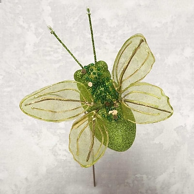 ZiaBella Decorative Glitter Bumble Bee on Clip; Green