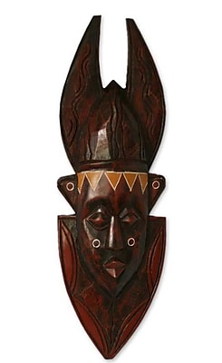 Novica In Memoriam Ashanti Wood Mask Wall D cor