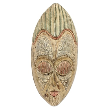 Novica King of The Cocoa Akan Wood Mask Wall D cor
