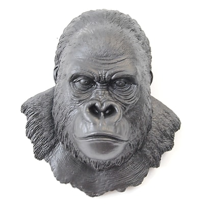 Near and Deer Faux Taxidermy Gorilla Head Wall D cor; Black