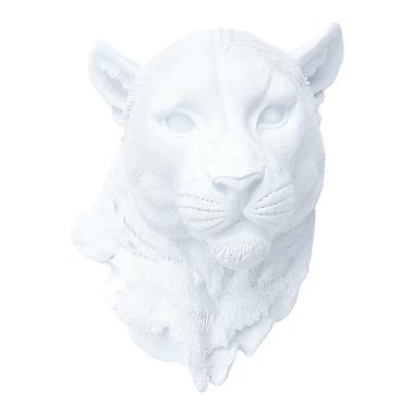 Near and Deer Faux Taxidermy Mountain Lion Head Wall D cor; White