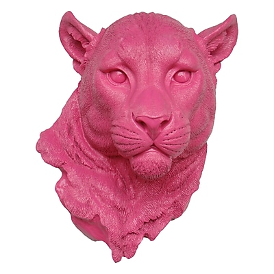 Near and Deer Faux Taxidermy Mountain Lion Head Wall D cor; Hot Pink