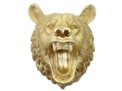 Near and Deer Faux Taxidermy Roaring Bear Wall D cor; Gold