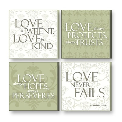 Imagine Design 4 Piece Treasured Times Love is Christian Wall D cor Set