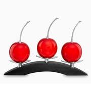 Infinita Corporation Artesana Medium 3 Cherries on Bridge Sculpture; Red
