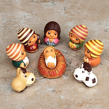 Novica Feriberto Aylas 9 Piece Nativity Folk Art Ceramic Figurines Set