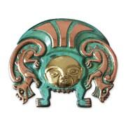 Novica Angel Franco Copper and Bronze Mask Wall Decor