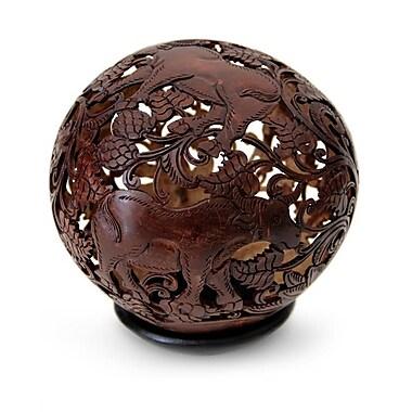 Novica Eka Water Buffalo Coconut Shell Sculpture