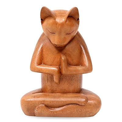 Novica Nengah Sudarsana Full Lotus Cat Suar Wood Sculpture