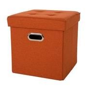 Glitzhome Storage Ottoman; Orange