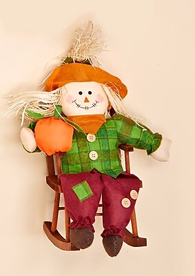 Worth Imports Decorative Boy Scarecrow in Rocking Chair
