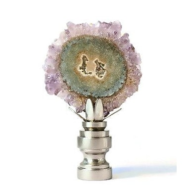 Stephen D. Evans Decorative Amethyst Slice Geode Lamp Finial; Oil Bronze