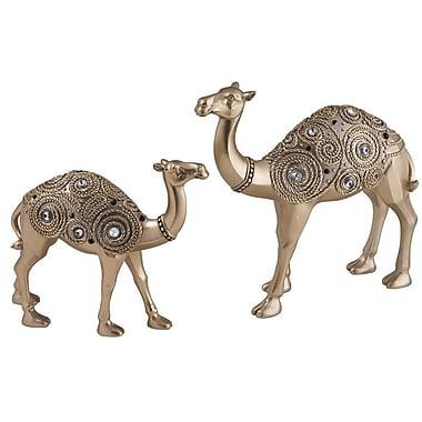 Sintechno Inc 2 Piece Golden Swirl Camel Decorative Figurine