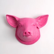White Faux Taxidermy Hamlet Pig Wall D cor; Pink