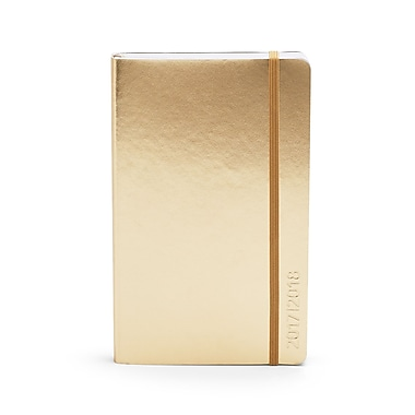 2017-2018 Poppin Medium Weekly/Monthly Softcover Planner, 18 Month, Gold (104454)
