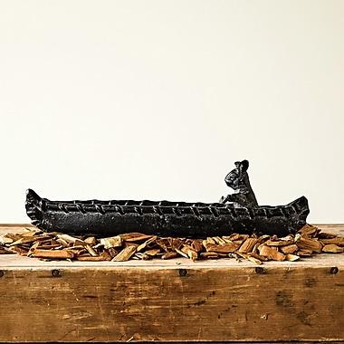 Creative Co-Op Cast Metal Rabbit in Canoe Bowl Sculpture