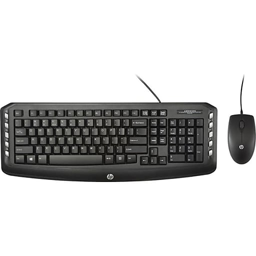 hp c2600 optical usb 2 0 wired keyboard and mouse combo black j2x04aa staples. Black Bedroom Furniture Sets. Home Design Ideas