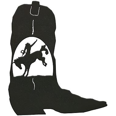 7055 Inc Bronc Rider Cowboy Boot Wall D cor; Hammered Black