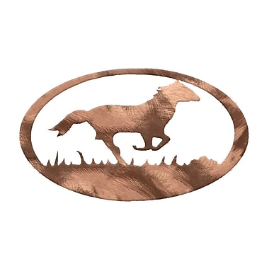 7055 Inc Horse Oval Wall D cor; Polished Copper