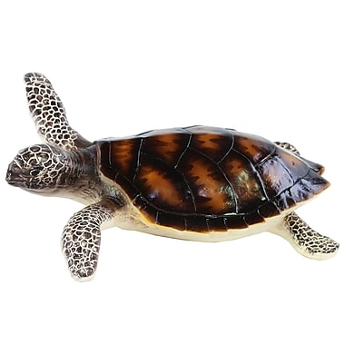 Urban Trends Resin Turtle on Belly w/ Brownish Shell Figurine; 5'' H x 13.5'' W x 13.75'' D