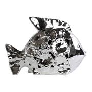 Urban Trends Ceramic Fish Figurine; Polished Chrome Silver