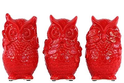 Urban Trends Ceramic Standing Owl No Evil 3 Piece Figurine Set; Gloss Red