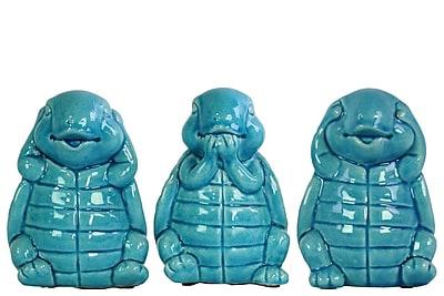Urban Trends 3 Piece Ceramic Standing turtle No Evil Figurine Set; Gloss Turquoise
