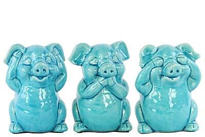 Urban Trends Ceramic Standing Pig No Evil 3 Piece Figurine Set; Gloss Turquoise
