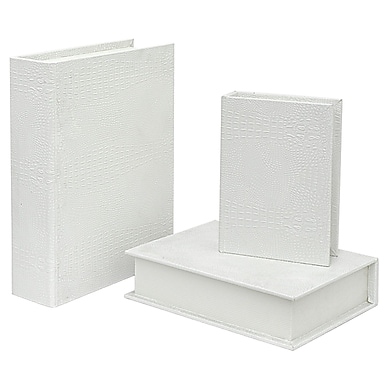 Three Hands Co. Wood 3 Piece Book Box Set; White