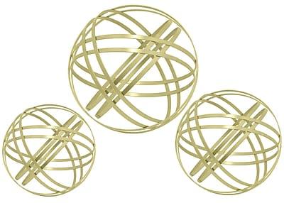 Three Hands Co. Metal Orbs 3 Piece Sculpture Set; Gold