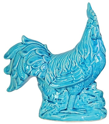 Urban Trends Ceramic Standing Rooster Figurine; Turquoise