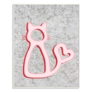 Stupell Industries Neon Kitty w/ Heart Tail Wall Plaque