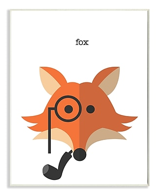 Stupell Industries Typographic Hipster Fox w/ Pipe Wall Plaque