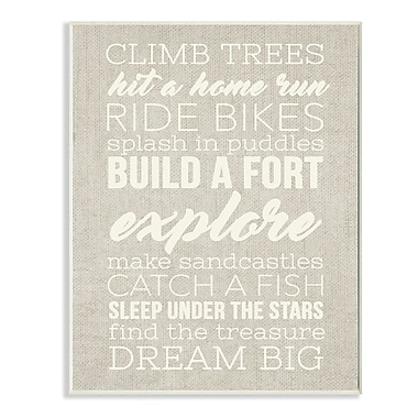 Stupell Industries Climb Trees Dream Big Navy w/ White Wall Plaque
