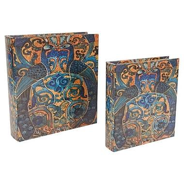 A&B Home 2 Piece Peacock Book Decorative Box Set