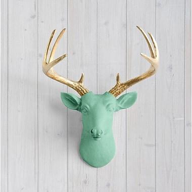 Wall Charmers Virginia Faux Taxidermy Mini Deer Head Wall D cor; Mint Green/Gold