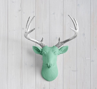 Wall Charmers Virginia Faux Taxidermy Mini Deer Head Wall D cor; Mint Green/Silver