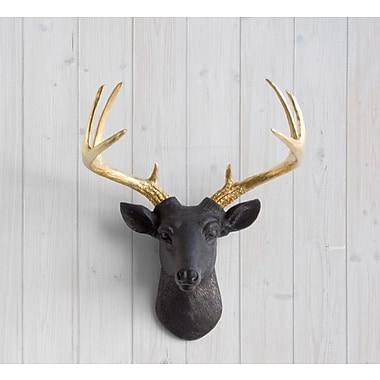 Wall Charmers Virginia Faux Taxidermy Mini Deer Head Wall D cor; Black/Gold
