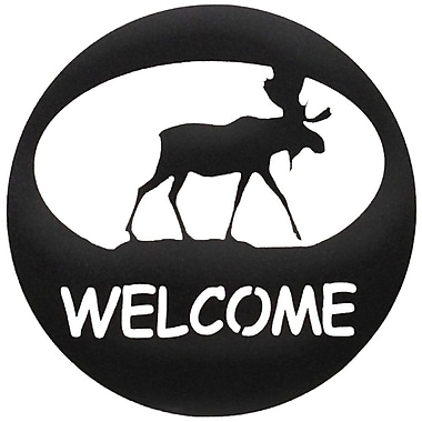 7055 Inc Moose Welcome Circle Wall D cor; Hammered Black