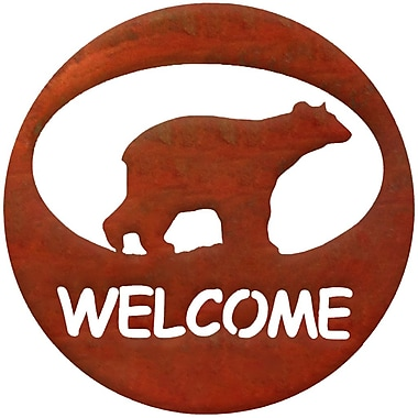 7055 Inc Bear Welcome Circle Wall D cor; Natural Rust Patina