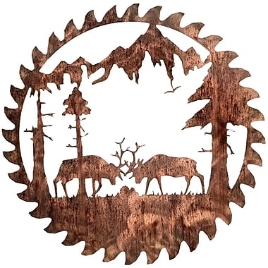 7055 Inc Buzz Blade Fighting Elk Wall D cor; Distressed Copper