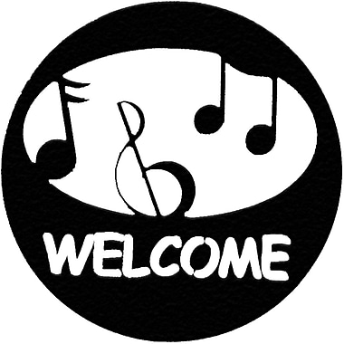 7055 Inc Music Welcome Circle Wall D cor; Hammered Black