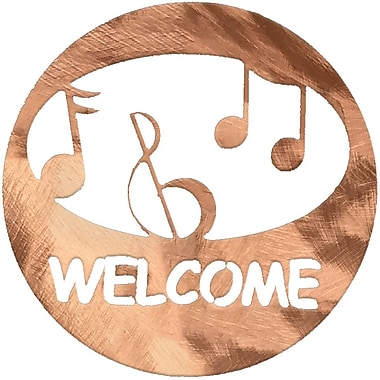 7055 Inc Music Welcome Circle Wall D cor; Polished Copper