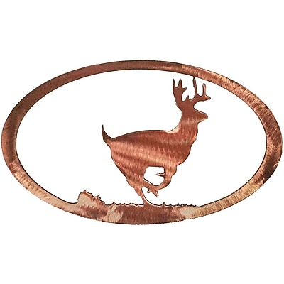 7055 Inc Running Deer Oval Wall D cor; Polished Copper
