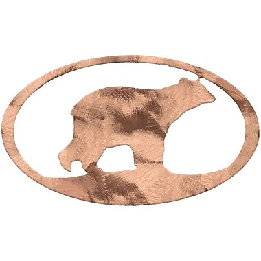 7055 Inc Bear Oval Wall D cor; Polished Copper